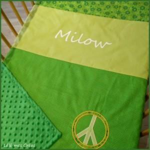 PLAID COUVERTURE Milow vert pomme anis Peace & Love Lélé mes Créas