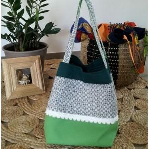 Collection ALIX sac cabas bag cube WAX vert printemps dentelle Lélé mes Créas