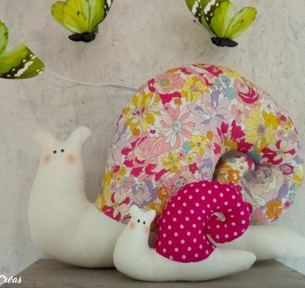 lelemescreas.com cargol maman et bébé escargot tilda Lélé mes Créas