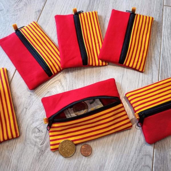 lelemescreas.com porte monnaie porte-monnaie catalan català sang et or rouge et jaune fermeture ruban fait Lélé mes Créas