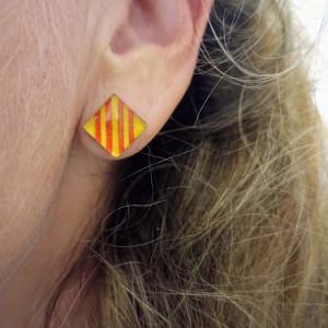 lelemescreas.com BO boucles d'oreilles 10mm carré Català catalan catalunya sang et or rouge et jaune catalanes Lélé mes Créas