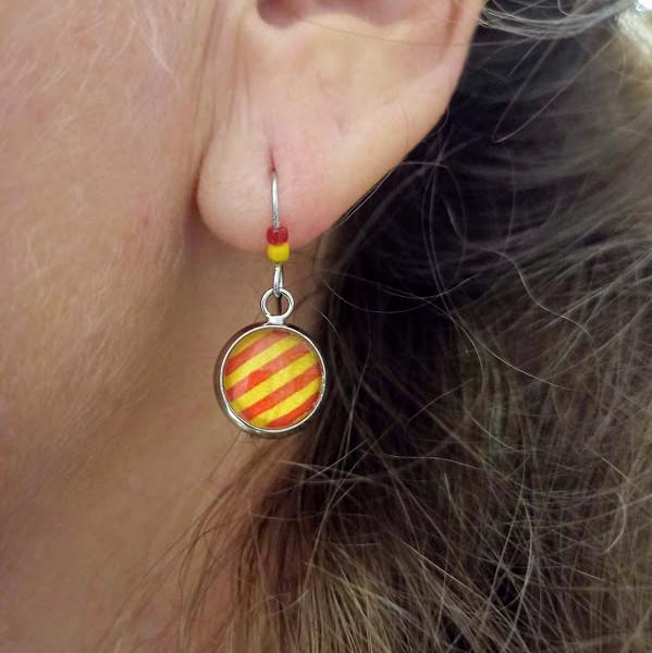 lelemescreas.com BO boucles d'oreilles rond 10mm perles Català catalan catalunya sang et or rouge et jaune catalanes Lélé mes Créas