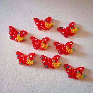 cabochon en résine papillon rouge x8