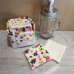 lelemescreas.com 12 LINGETTES DÉMAQUILLANTES ET PANIER imprimé fleurs liberty beige crème Lélé mes Créas