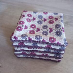 lelemescreas.com 5 LINGETTES DÉMAQUILLANTES ET PANIER imprimé fleurs liberty violet crème Lélé mes Créas