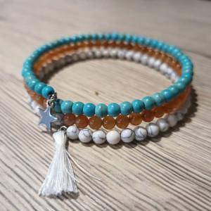 lelemescreas.com bracelet mémoire de forme acier inoxydable pierre naturelle 4mm howlite turquoise agate howlite Lélé mes Créas
