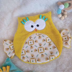 lelemescreas.com DOUDOU HIBOU plat coton moutarde maron bleu vert et douillette moutarde Lélé mes Créas 1