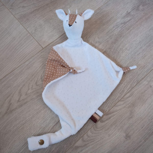 lelemescreas.com DOUDOU PLAT CERF FAON marron glacé à pois et blanc Lélé mes Créas